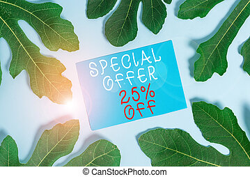 Word writing text Special Offer 25 Percent Off. Business photo showcasing Discounts promotion Sales Retail Marketing Offer