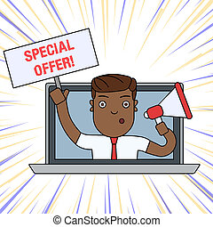 Word writing text Special Offer. Business concept for product or service that is offered free or at a very low price Man Speaking Through Laptop Screen into Megaphone Blank Plate with Handle.