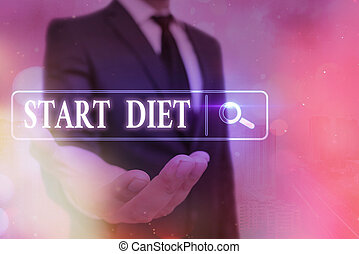 Word writing text Start Diet. Business concept for the practice of eating food in a regulated and supervised fashion Web search digital information futuristic technology network connection.