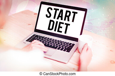 Word writing text Start Diet. Business concept for the practice of eating food in a regulated and supervised fashion Modern gadgets with white display screen under colorful bokeh background.