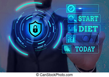 Word writing text Start Diet. Business concept for the practice of eating food in a regulated and supervised fashion Graphics padlock for web data information security application system.