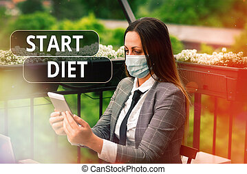 Word writing text Start Diet. Business concept for the practice of eating food in a regulated and supervised fashion Promoting health awareness with set of medical precautionary equipment.