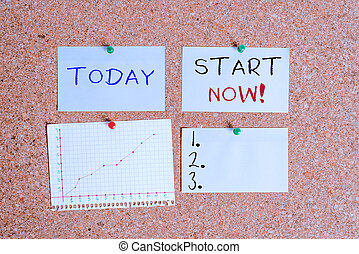 Word writing text Start Now. Business concept for do not hesitate get working or doing stuff right away Corkboard color size paper pin thumbtack tack sheet billboard notice board.
