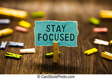Word writing text Stay Focused. Business concept for Be attentive Concentrate Prioritize the task Avoid distractions Clothespin holding blue paper note reminder clothespins wooden floor.