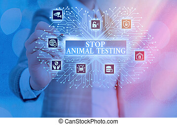 Word writing text Stop Animal Testing. Business concept for put an end on animal experimentation or research System administrator control, gear configuration settings tools concept.