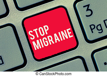 Word writing text Stop Migraine. Business concept for Preventing the full attack of headache Caffeine withdrawal