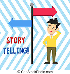 Word writing text Storytelling. Business concept for activity writing stories for publishing them to public Man Confused with the Road Sign Arrow Pointing to Opposite Side Direction.