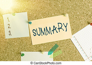 Word writing text Summary. Business concept for brief statement or account of main points of something subject Corkboard color size paper pin thumbtack tack sheet billboard notice board.