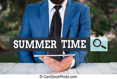 Word writing text Summer Time. Business concept for warmest season of the year Summer season or period like summer Businessman with mobile phone in his hand.