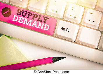 Word writing text Supply Demand. Business concept for Relationship between the amounts available and wanted.