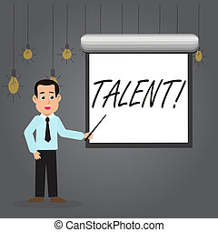 Word writing text Talent. Business concept for Natural abilities of showing showing specialized skills they possess Man in Necktie Talking Holding Stick Pointing to Blank White Screen on Wall.