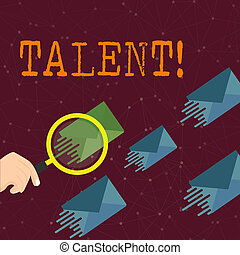 Word writing text Talent. Business concept for Natural abilities of showing showing specialized skills they possess Magnifying Glass on One Different Color Envelope and others has Same Shade.