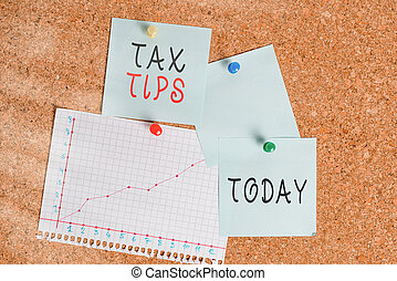 Word writing text Tax Tips. Business concept for compulsory contribution to state revenue levied by government Corkboard color size paper pin thumbtack tack sheet billboard notice board.