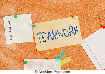 Word writing text Teamwork. Business concept for combined action of group especially when effective and efficient Corkboard color size paper pin thumbtack tack sheet billboard notice board.
