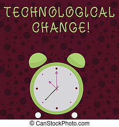 Word writing text Technological Change. Business concept for increase in the efficiency of a product or process Colorful Round Analog Two Bell Alarm Desk Clock with Seconds Hand photo.