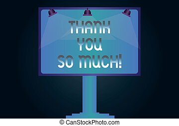Word writing text Thank You So Much. Business concept for Expression of Gratitude Greetings of Appreciation Blank Lamp Lighted Color Signage Outdoor Ads photo Mounted on One Leg.