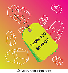 Word writing text Thank You So Much. Business concept for Expression of Gratitude Greetings of Appreciation Label rectangle empty badge attached string colorful background tag small.