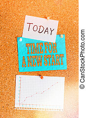 Word writing text Time For A New Start. Business concept for something is supposed to begin right now Fresh job Corkboard color size paper pin thumbtack tack sheet billboard notice board.