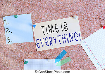 Word writing text Time Is Everything. Business concept for significance of time greatly influence the outcome of an event Corkboard color size paper pin thumbtack tack sheet billboard notice board.