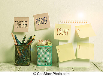 Word writing text Together Forever. Business concept for showing who promise to love one another for eternity 6 Sticky Notes on Wall Open Spiral Notebook 2 Pencil Pots on Work Desk.