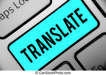 Word writing text Translate. Business concept for Another...