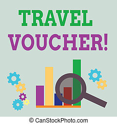 Word writing text Travel Voucher. Business concept for Tradable transaction type worth a certain monetary value Magnifying Glass Over Bar Column Chart beside Cog Wheel Gears for Analysis.
