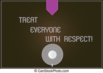 Word writing text Treat Everyone With Respect. Business concept for Be respectful to others Have integrity Coffee Cup Saucer Top View photo Reflection on Blank Color Snap Planner.