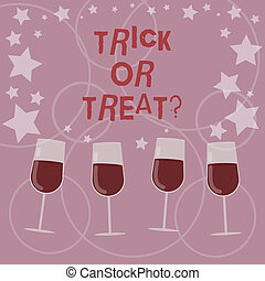 Word writing text Trick Or Treat. Business concept for Halloween tradition consisting in asking for sweets Filled Cocktail Wine Glasses with Scattered Stars as Confetti Stemware.