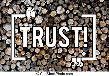 Word writing text Trust. Business concept for Belief in the Reliability Truth Ability Confidence Wooden background vintage wood wild message ideas intentions thoughts.