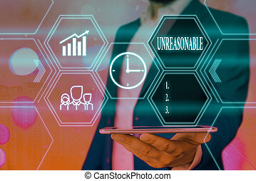 Word writing text Unreasonable. Business photo showcasing beyond right or acceptability boundaries or behaving in a way Grids and different set up of the icons latest digital technology concept
