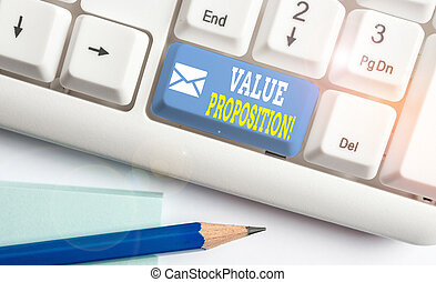 Word writing text Value Proposition. Business concept for feature intended to make a company or product attractive White pc keyboard with empty note paper above white background key copy space.