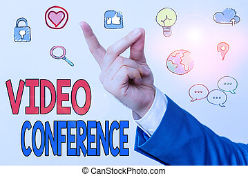 Word writing text Video Conference. Business concept for showing in remote places hold facetoface meetings.