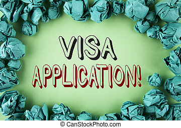 Word writing text Visa Application Motivational Call. Business concept for sheet to provide your basic information written on plain background within Paper Balls.