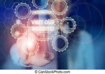 Word writing text Visit Our Website. Business concept for visitor who arrives at web site and proceeds to browse Picture photo system network scheme modern technology smart device.