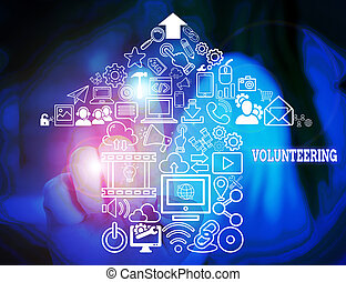 Word writing text Volunteering. Business concept for Provide...