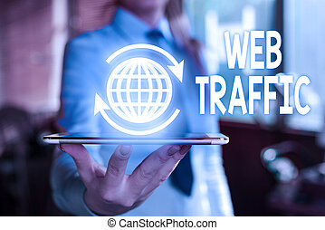 Word writing text Web Traffic. Business concept for Amount of data sent and received by visitors to a website.