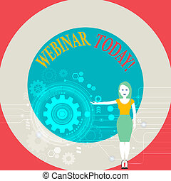 Word writing text Webinar Today. Business concept for presentation workshop or seminar that is transmitted over Web Woman Standing and Presenting the SEO Process with Cog Wheel Gear inside.