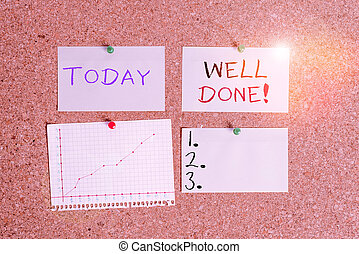 Word writing text Well Done. Business concept for used praising demonstrating or group for something have done good way Corkboard color size paper pin thumbtack tack sheet billboard notice board.