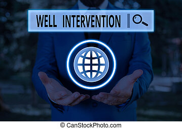 Word writing text Well Intervention. Business concept for work carried out on gas well to alter or analysisage its health.