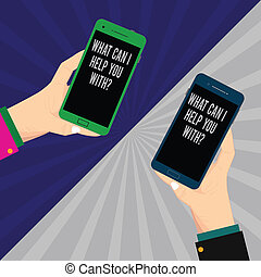 Word writing text What Can I Help You Withquestion. Business concept for Offering support assistance guidance Two Hu analysis Hands Each Holding Blank Smartphone Mobile on Sunburst photo.