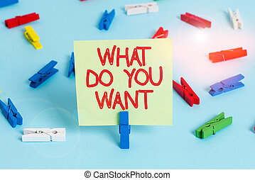 Word writing text What Do You Want. Business concept for used for offering something to someone or asking their need Colored clothespin papers empty reminder blue floor background office pin.