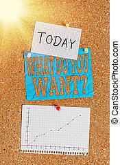 Word writing text What Do You Want Question. Business concept for say or write in order to ask an individual about something Corkboard color size paper pin thumbtack tack sheet billboard notice board.