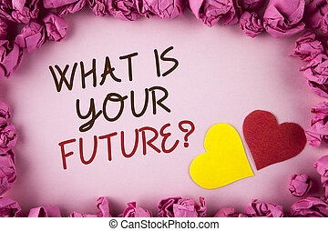 Word writing text What Is Your Future Question. Business concept for Where do you see yourself in the next years written on plain background within Pink Paper Balls Hearts next to it.