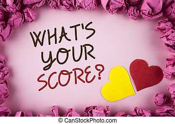 Word writing text What Is Your Score Question. Business concept for Tell Personal Individual Rating Average Results written on plain background within Pink Paper Balls Hearts next to it.