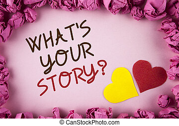Word writing text What Is Your Story Question. Business concept for Telling personal past experiences Storytelling written on plain background within Pink Paper Balls Hearts next to it.
