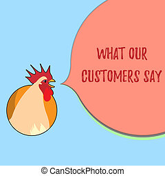 Word writing text What Our Customers Say. Business concept for to know Users Feedback the Consumers Reactions