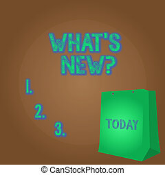 Word writing text What S New Question. Business photo showcasing you ask someone about his current live events actions Color Gift Bag with Punched Hole but Without Handle on Twotone Blank Space