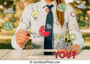 Word writing text Who Are Youquestion. Business concept for ...