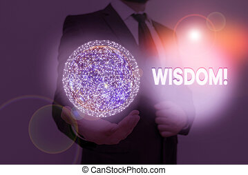 Word writing text Wisdom. Business concept for quality having experience knowledge and good judgement something Elements of this image furnished by NASA.