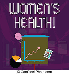 Word writing text Women S Health. Business concept for Chronic diseases conditions as heart disease cancer diabetes Investment Icons of Pie and Line Chart with Arrow Going Up, Bulb, Calculator.